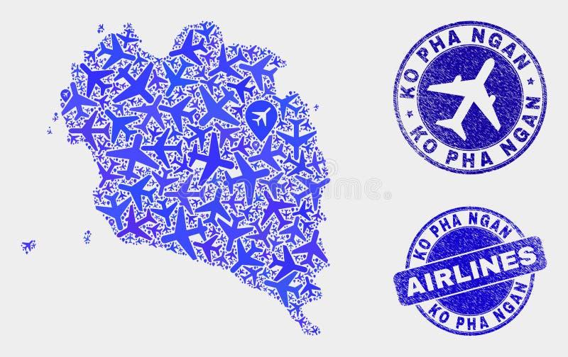 Carte aérienne de Ko Pha Ngan de vecteur de mosaïque et timbres grunges illustration libre de droits