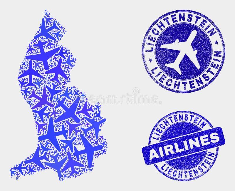 Carte aérienne de la Liechtenstein de vecteur de collage et timbres grunges illustration libre de droits