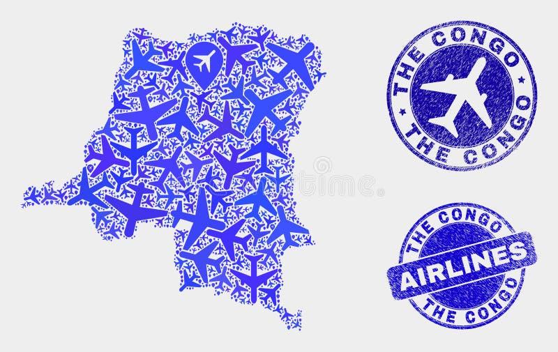 Carte aérienne de la République démocratique du Congo de vecteur de mosaïque et timbres grunges illustration libre de droits