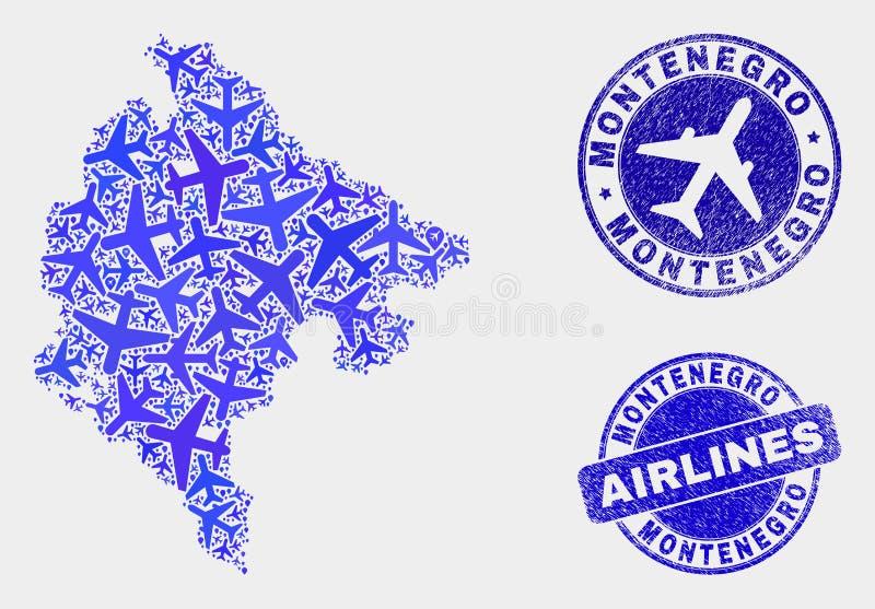 Carte aérienne de Monténégro de vecteur de collage et timbres grunges illustration de vecteur