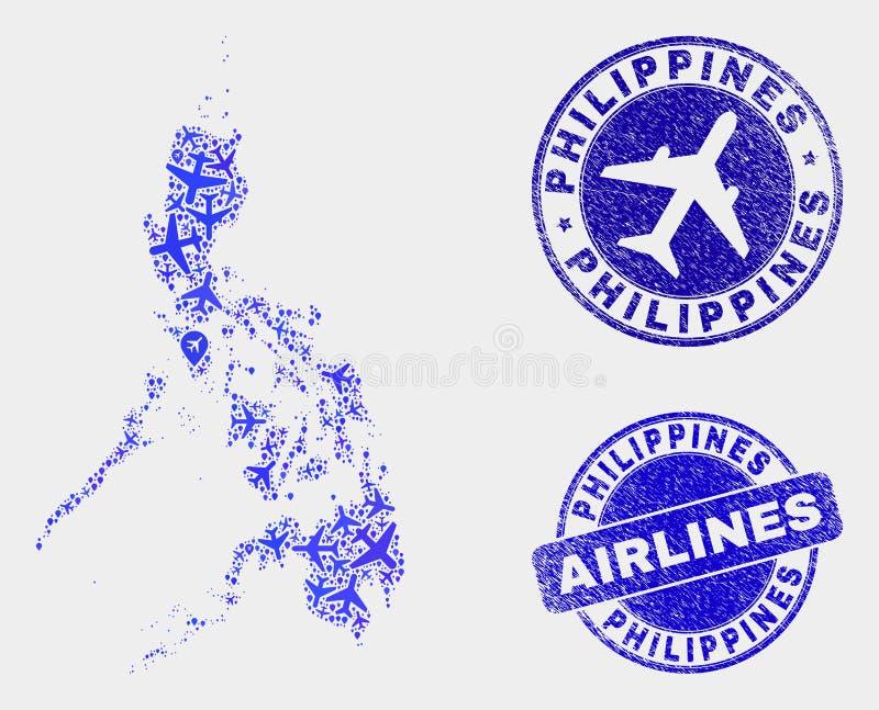 Carte aérienne de Philippines de vecteur de mosaïque et timbres grunges illustration de vecteur
