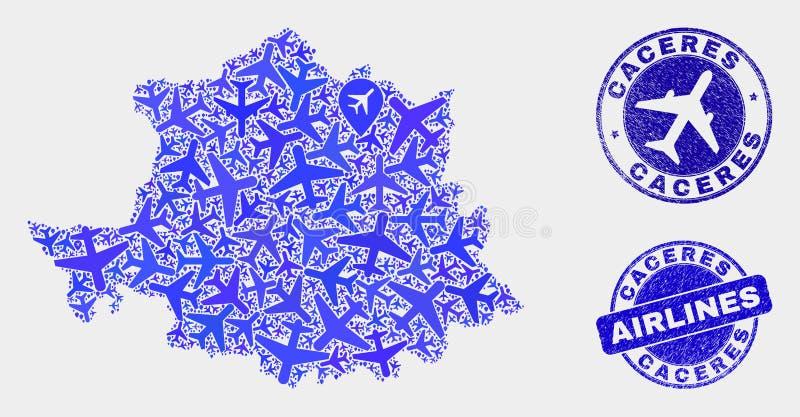 Carte aérienne de province de Caceres de vecteur de composition et timbres grunges illustration stock