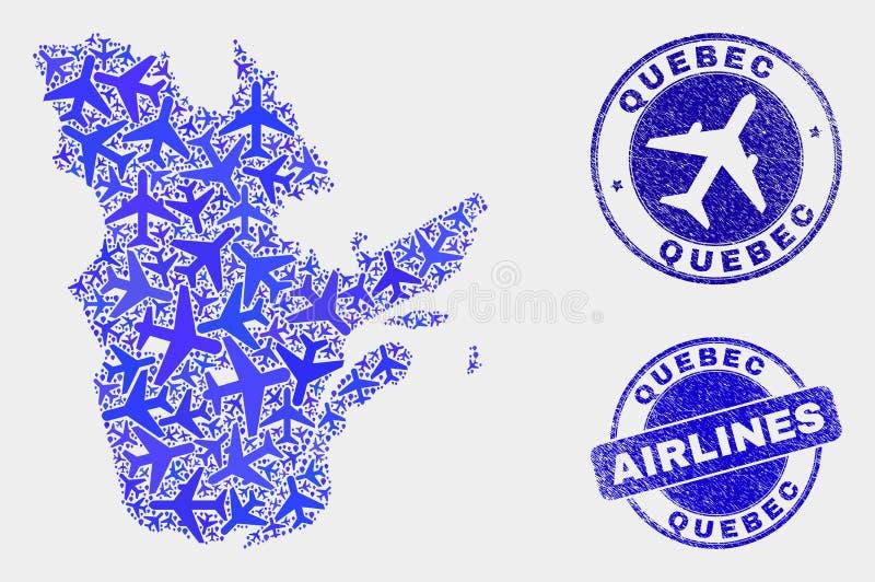 Carte aérienne de province du Québec de vecteur de collage et joints grunges illustration libre de droits
