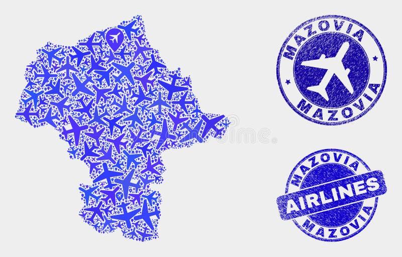Carte aérienne de province de Mazovia de vecteur de mosaïque et joints grunges illustration libre de droits