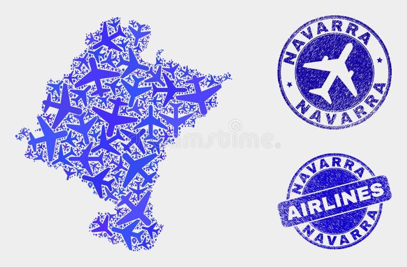 Carte aérienne de province de Navarra de vecteur de collage et timbres grunges illustration stock
