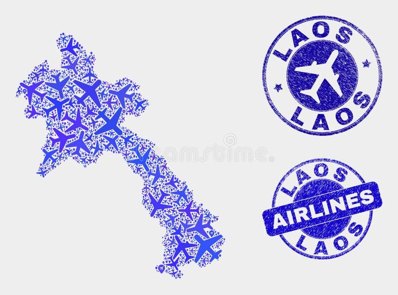 Carte aérienne du Laos de vecteur de composition et joints grunges illustration libre de droits