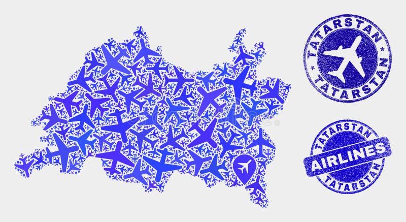 Carte aérienne du Tatarstan de vecteur de composition et joints grunges illustration stock