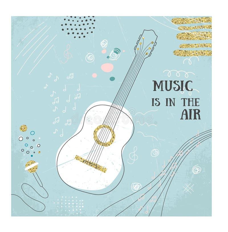 Carte abstraite d'aspiration de main de guitare de musique Illustration de vecteur de griffonnage Affiche graphique, style de cro illustration stock