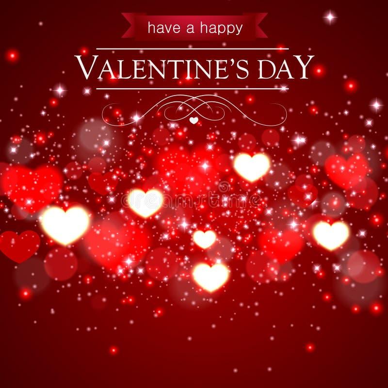 Carte abstraite de jour de valentines avec les coeurs et les étincelles brouillés illustration libre de droits