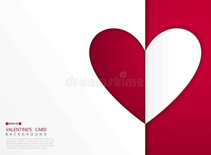 Carte abstraite de Saint-Valentin de couverture rouge et blanche de coeur de gradient de fond illustration stock