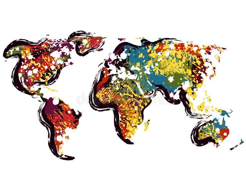 Carte abstraite du monde Art grunge tiré par la main de style illustration de vecteur