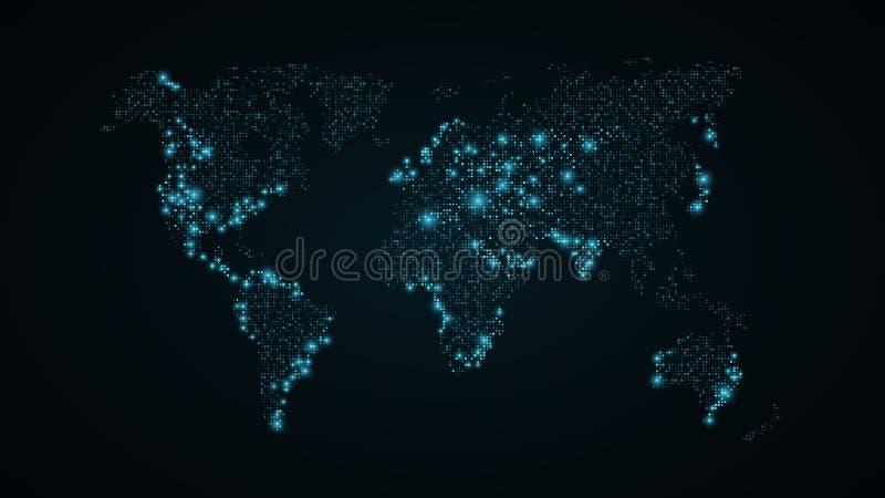 Carte abstraite du monde Carte bleue de la terre des points carrés Fond bleu-foncé Lumières bleues De pointe Technologie de la sc illustration libre de droits