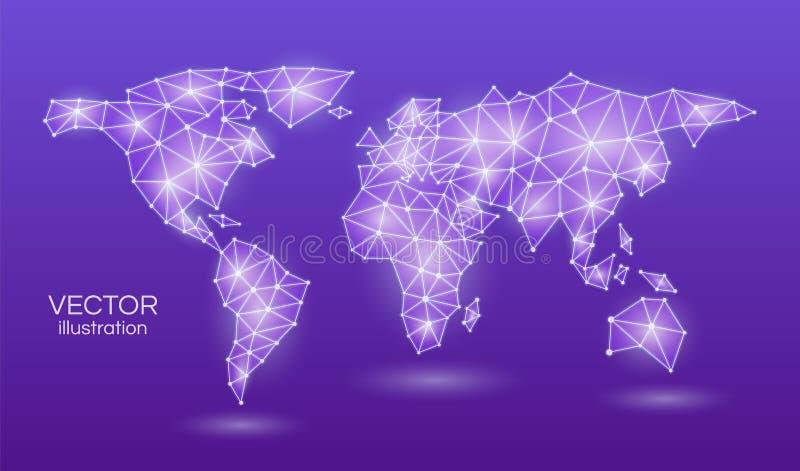 Carte abstraite du monde dans une lampe au néon de violette triangulaire de forme sur un fond pourpre Illustration de vecteur illustration de vecteur