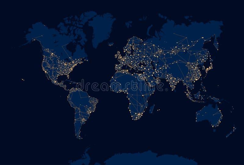 Carte abstraite du monde de nuit illustration stock