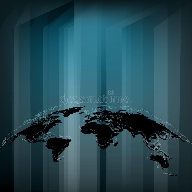 Carte abstraite du monde Fond De pointe Technologie de la science fiction illustration de vecteur