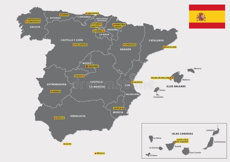 Carte Administrative De L'Espagne Illustration Stock