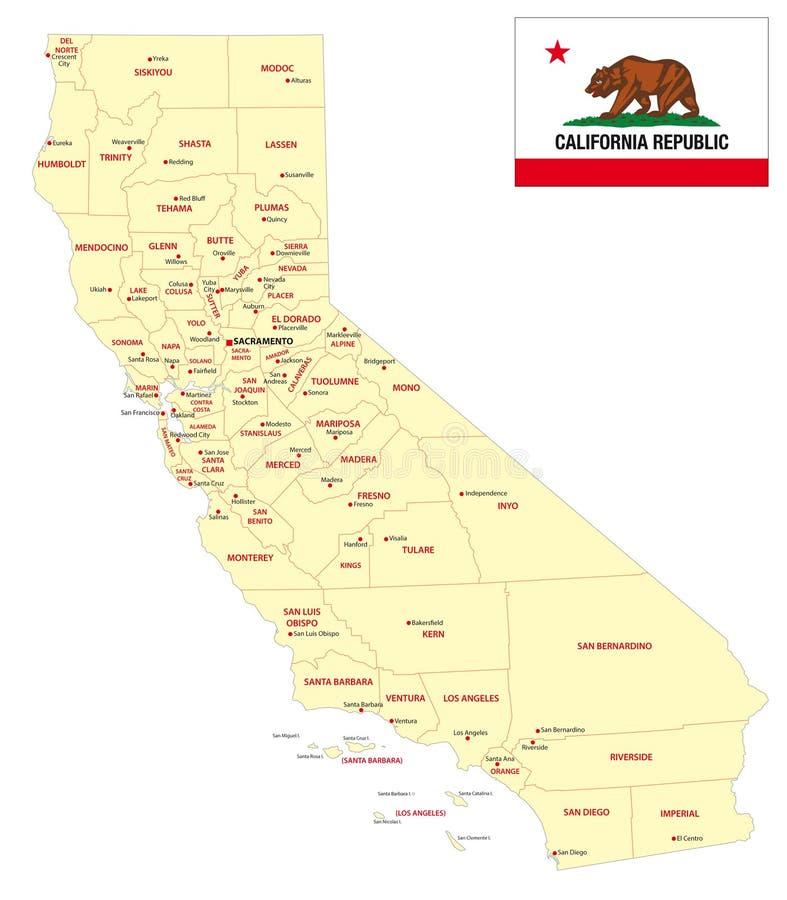 Carte administrative de la Californie avec le drapeau illustration de vecteur