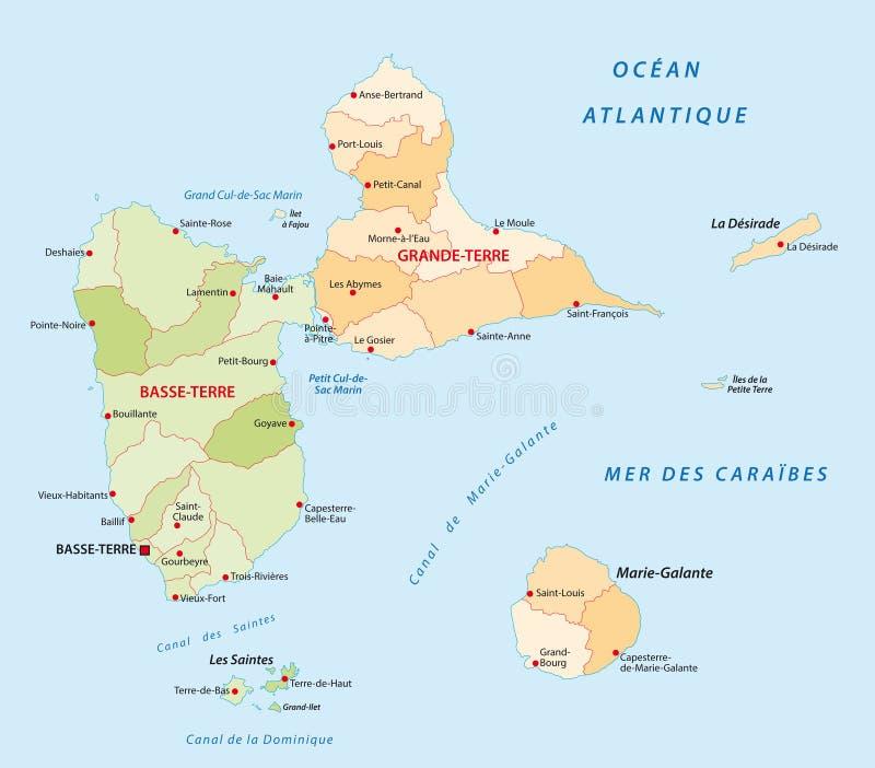 Carte administrative de la Guadeloupe illustration de vecteur
