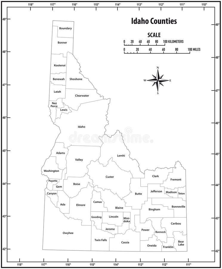 Carte administrative et politique d'ensemble d'état de l'Idaho de vecteur en noir et blanc illustration stock