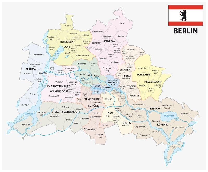 Carte administrative et politique de Berlin avec le drapeau illustration libre de droits