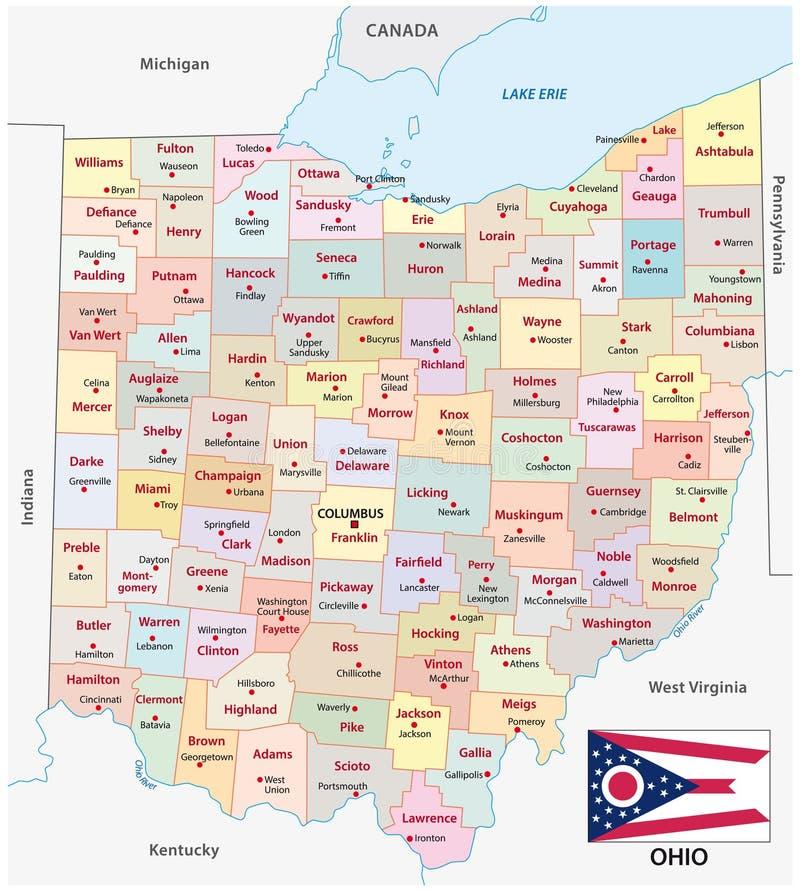 Carte administrative et politique de l'Ohio de vecteur avec le drapeau illustration libre de droits