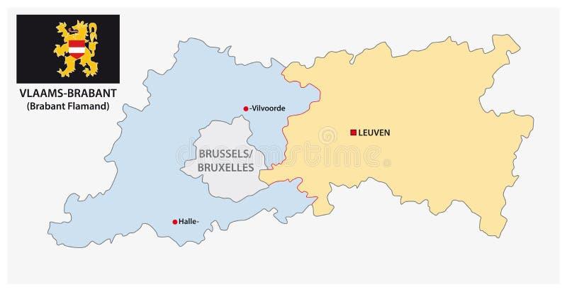 Carte administrative et politique de vecteur de la province belge le Brabant flamand avec le drapeau illustration de vecteur