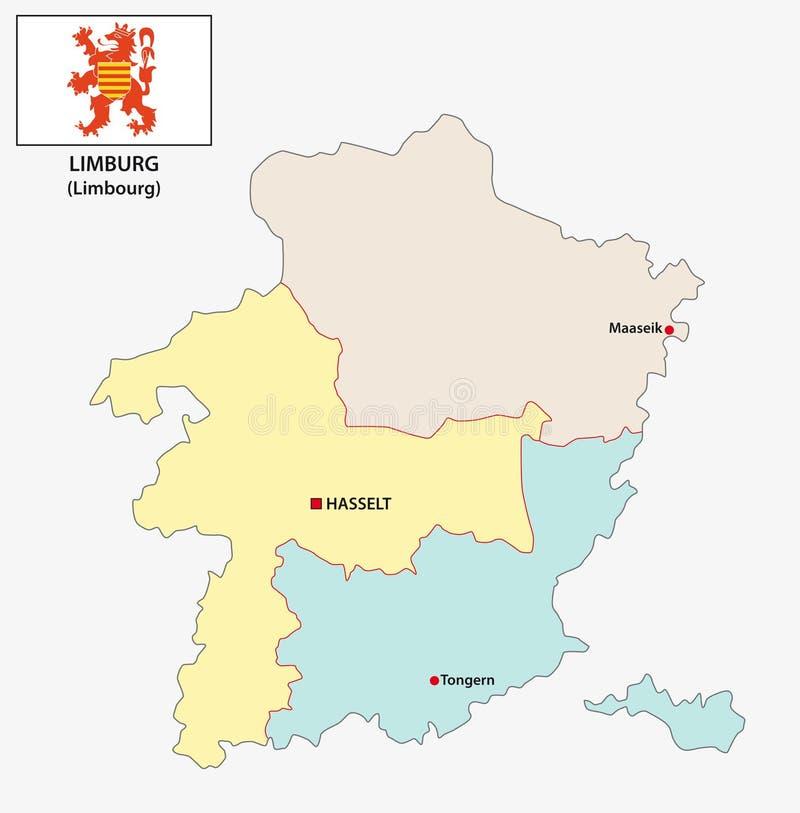 Carte administrative et politique de vecteur de la province belge Limbourg avec le drapeau illustration stock