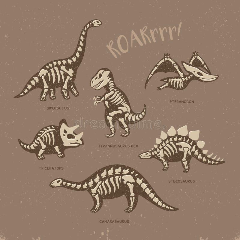 Carte adorable avec les squelettes drôles de dinosaure dans le style de bande dessinée illustration libre de droits
