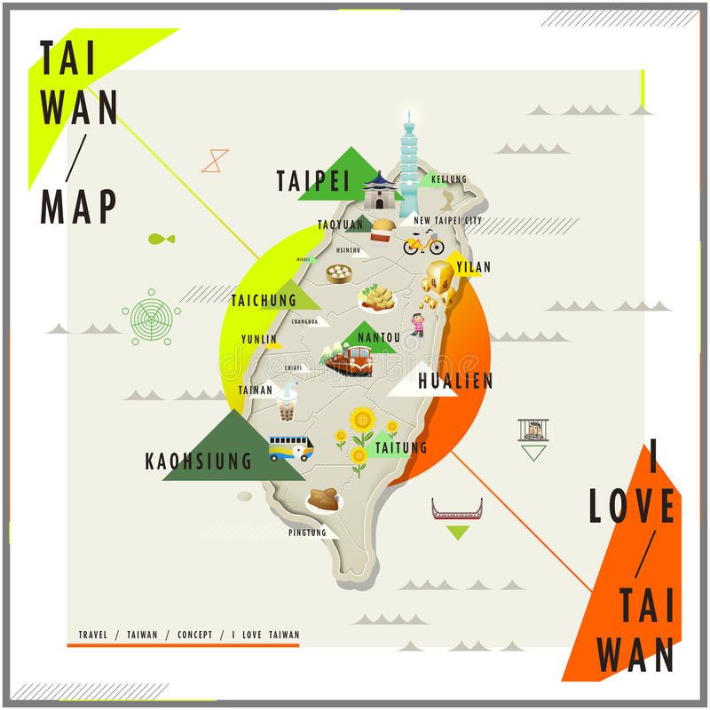 Carte adorable de voyage de Taïwan illustration libre de droits