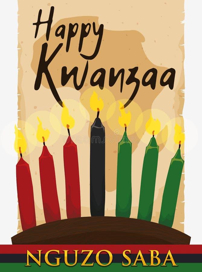 Carte africaine au-dessus de rouleau antique et bougies allumées pour Kwanzaa, illustration de vecteur illustration libre de droits