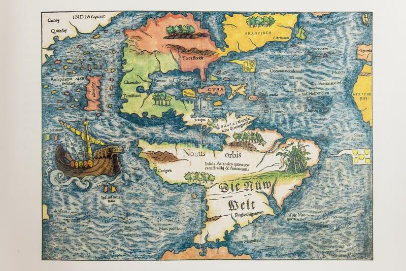 Carte allemande antique de l'Amérique images stock