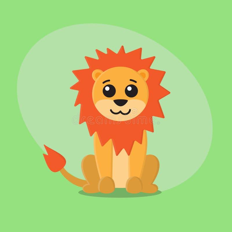 Carte animale mignonne plate de zoo de bande dessinée de lion pour des enfants images stock