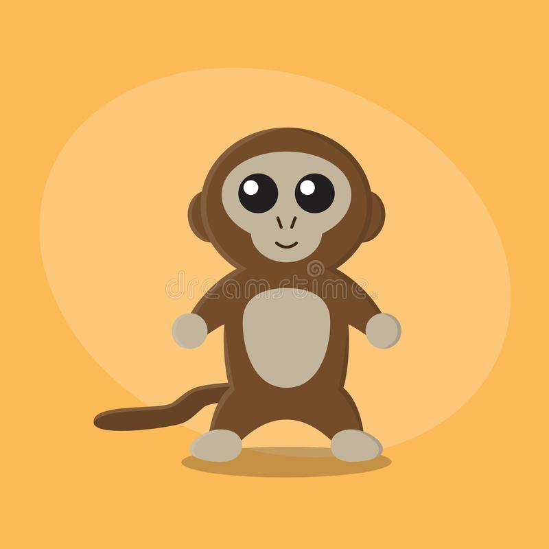 Carte animale mignonne plate de zoo de bande dessinée de singe pour des enfants photos libres de droits