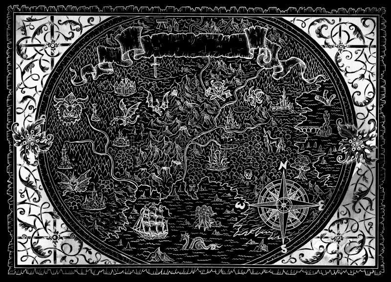 Carte antique d'atlas de monde imaginaire avec le cadre victorian, boussole nautique sur le noir illustration stock