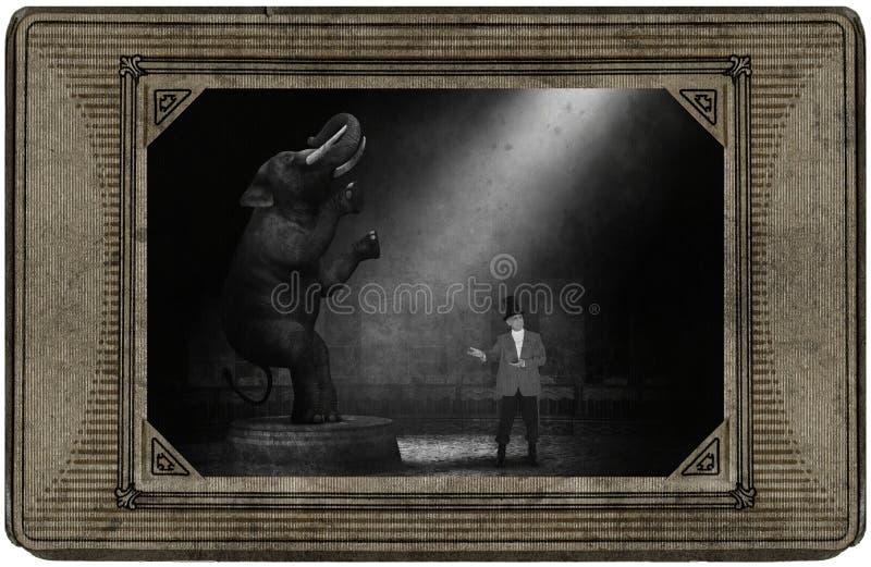 Carte antique de cirque de cru, éléphant, chef de piste, amusement images libres de droits