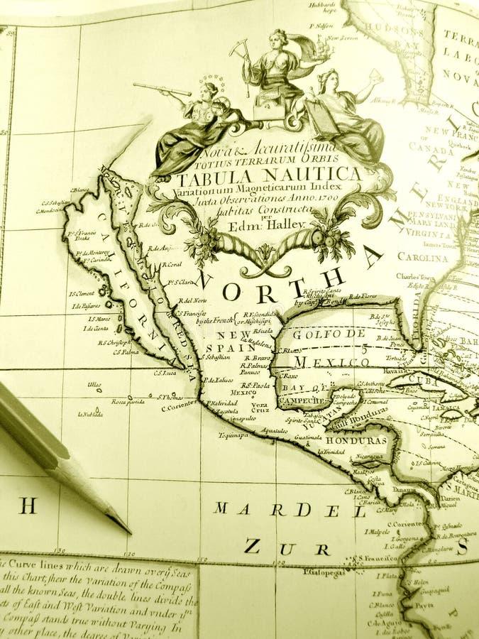 carte antique de l'Amérique du nord photo stock