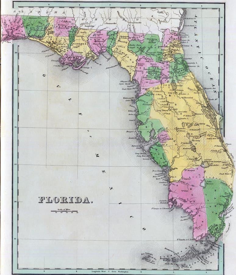 Carte antique de la Floride photos libres de droits