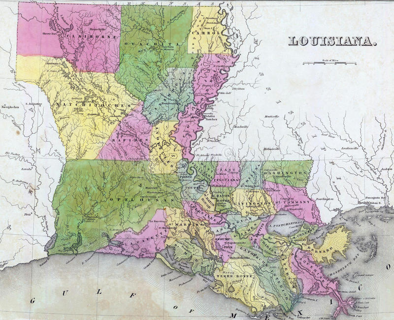 Carte antique de la Louisiane photos stock