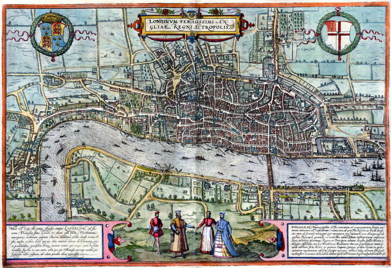 Carte antique de Londres illustration de vecteur