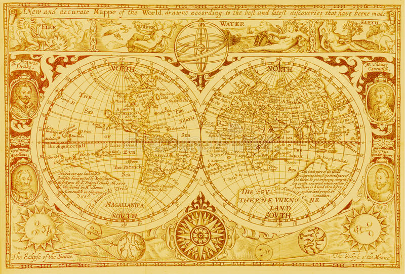 Carte antique du monde image stock