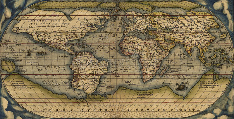 Carte antique du monde illustration stock
