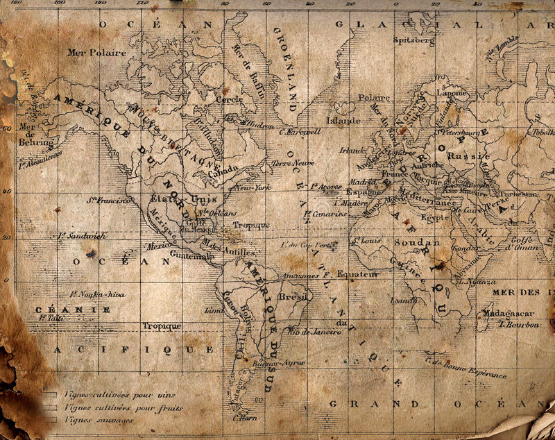 Carte antique du monde. images libres de droits