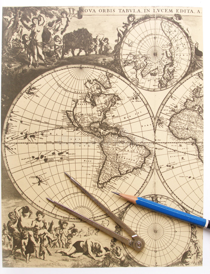Carte antique du monde, compas images stock
