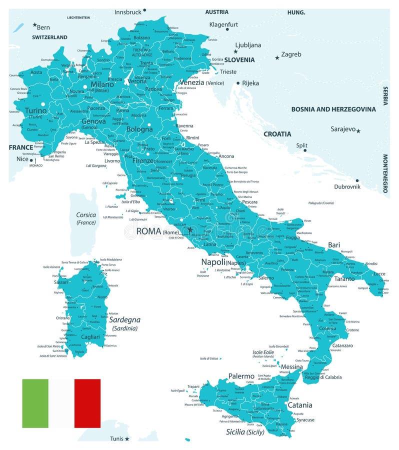 Carte Aqua Color de l'Italie illustration de vecteur