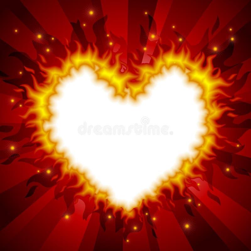 Carte ardente 3 de coeur illustration de vecteur