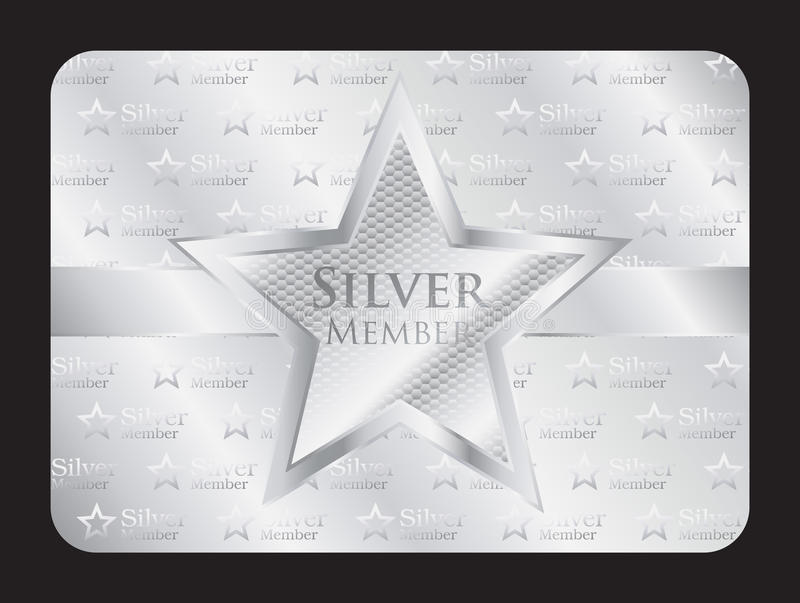 Carte argentée de club de membre avec la grande étoile illustration libre de droits