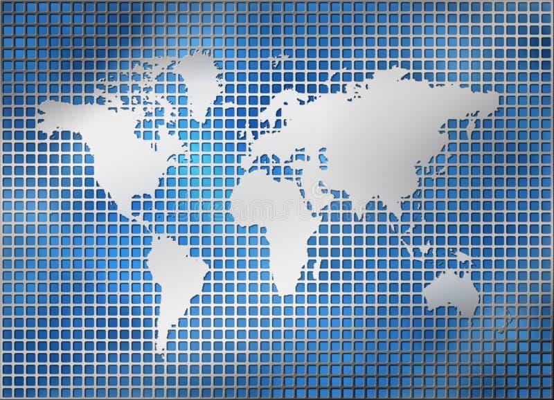Carte argentée du monde de réseau en métal illustration libre de droits