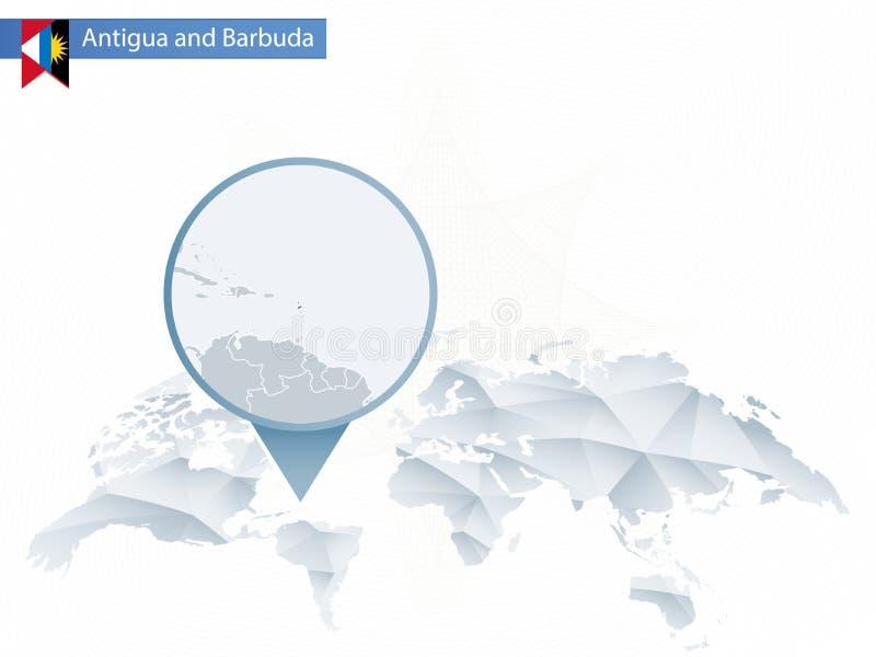 Carte arrondie abstraite du monde avec l'Antigua et le Barb détaillés goupillés illustration libre de droits