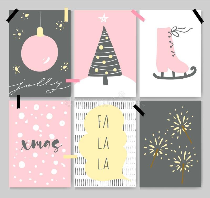 Carte artistiche sveglie di inverno, manifesti, segnanti royalty illustrazione gratis