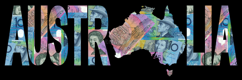 Carte australienne avec la devise illustration libre de droits